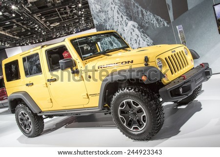 The 2015 Jeep Wrangler Rubicon at The North American International Auto Show January 13, 2015 in Detroit, Michigan. - stock photo