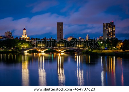 The John W Weeks Bridge and Charles River at night, in Cambridge, Massachusetts. - stock photo