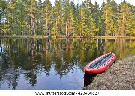 The journey on the river of the national Park. Tourist boat on the spring river in Central Russia. - stock photo