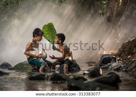 The joy of children. - stock photo
