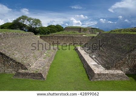 The Juego de Pelota or Ball Court, Monte Alban, Oaxaca, Mexico - stock photo