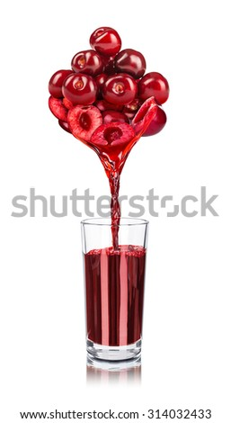 the juice from cherries poured into glass isolated on white background - stock photo