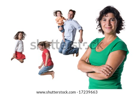 The jumping family. Full isolated studio picture - stock photo