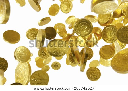 The Jumping Gold Coin - stock photo