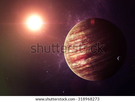 The Jupiter shot from space showing all they beauty. Extremely detailed image, including elements furnished by NASA. Other orientations and planets available. - stock photo