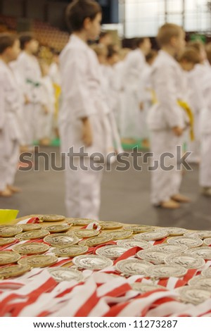 The karate kids on competition - stock photo