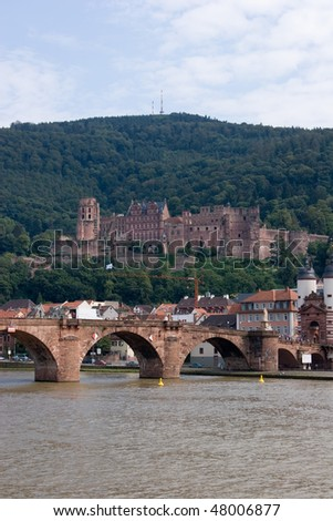 The Karl Theodor Bridge on the river in Heidelberg (Germany) and the Castle - stock photo