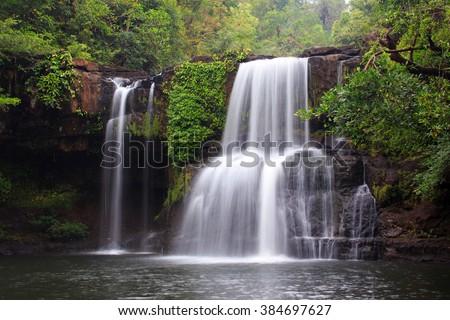 The Khlong Chao waterfall in Ko Mook island, Thailand - stock photo