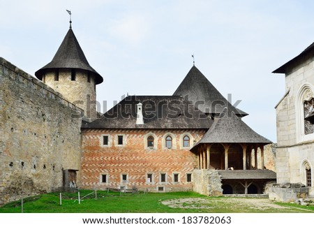 The Khotyn Fortress is a fortification complex located on the right bank of the Dniester River in the western Ukraine. - stock photo