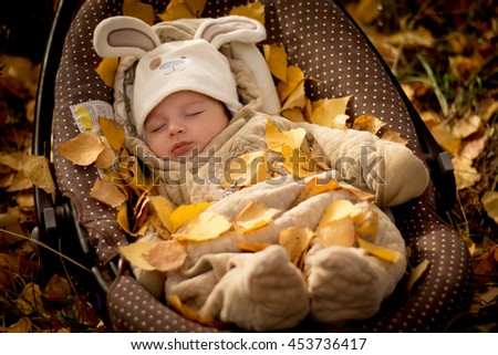 the kid in the Bunny costume laying and sleep under a tree autumn birch on a background of yellow leaves cover - stock photo