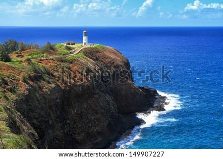 The Kilauea Point Lighthouse on Kauai is part of Hawaii's Kilauea Point National Wildlife Refuge. - stock photo