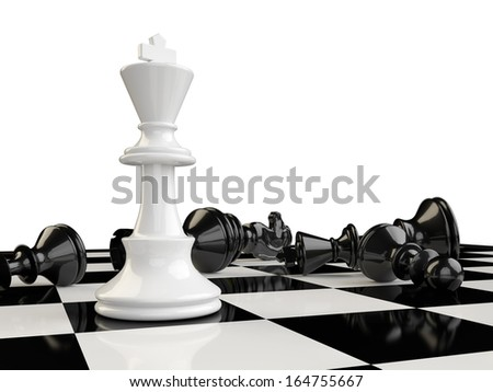 The kings beats all the other pieces of the board and remain the last one standing - stock photo