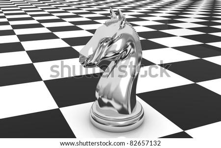 The knight chess piece - stock photo