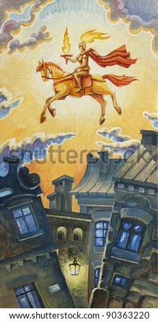 The knight with the burning sword is riding the horse in the morning sky. Oil painting. - stock photo