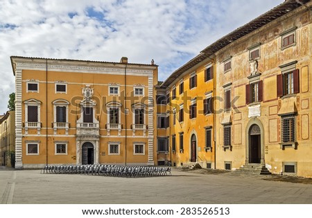 The Knights?? Square (Italian: Piazza dei Cavalieri) is a landmark in Pisa, Italy, and the second main square of the city. This square was the political centre in medieval Pisa. - stock photo