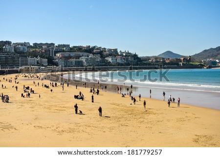 The Kontxa beach in San Sebastian and the Cantabric sea (Basque Country, Spain) - stock photo