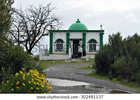 The Kramat of Sheikh Mohammed Hassen Ghaibie Shah al Qadri on Signal Hill, Cape Town. - stock photo