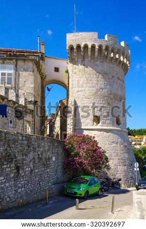 The Kula Zakerjan (Zakerjan tower or Berim Tower) in the old town of Korcula, Croatia - stock photo