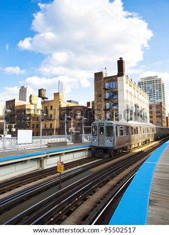 The 'L' is the rapid transit system serving the city of Chicago and some of its surrounding suburbs. - stock photo