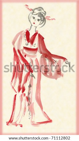 The lady in kimono dancing, drawing in traditional Japanese style - stock photo