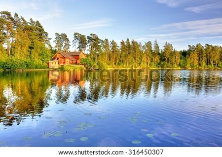 The lake house - stock photo