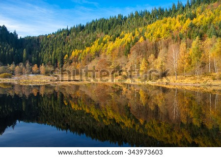 The lake Sankenbachsee in autumn near Baiersbronn, Black Forest, Baden-Wurttemberg, Germany, Europe - stock photo