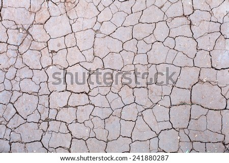The land is cracked due the lack of water - stock photo