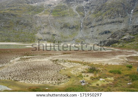 The landscape illustrating ecological succession on the former glacier lake - stock photo