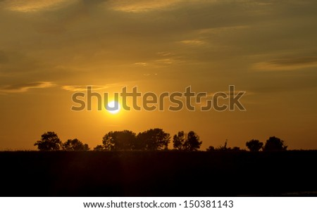 the landscape is beautiful sunset in the summer, Kazakhstan - stock photo