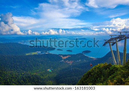 The landscape of Langkawi seen from Cable Car viewpoint - stock photo