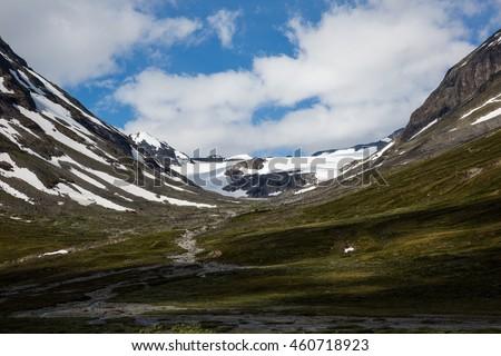 The landscape of the Norwegian national park Jotunheimen - stock photo