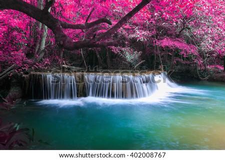 The landscape photo, Huay Mae Kamin Waterfall, beautiful waterfall in autumn forest, Kanchanaburi province, Thailand - stock photo