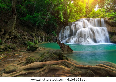 The landscape photo, Huay Mae Kamin Waterfall, beautiful waterfall in deep forest, Kanchanaburi province, Thailand - stock photo