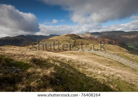 The Langdales from Lingmoor Fell, Lake District - stock photo