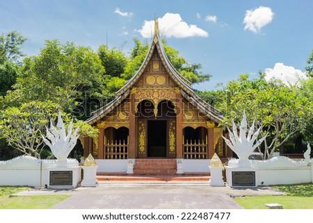 the lao antique architecture design pavilion with naga statue - stock photo