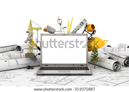 The laptop with empty screen and object for construction. Blueprints and safety helmet over a table in construction site. - stock photo
