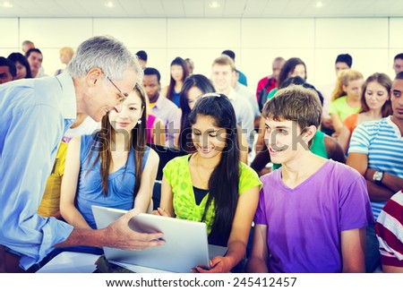 The Large Group of Student in The Lecture Hall - stock photo