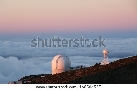 The largest astronomical observatory located in the northern hemisphere at the top of the La Palma island - stock photo