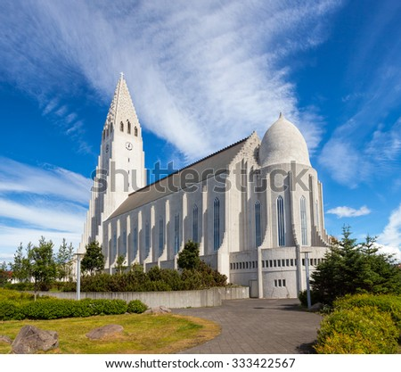 The largest church in Iceland, Hallgrimskirkja is a Lutheran parish church located in central Reykjavik - stock photo