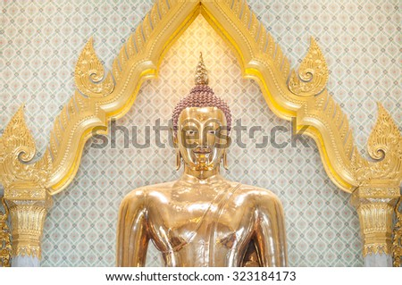 The largest solid gold Buddha statue in the world, Wat Traimit, Bangkok, Thailand - stock photo
