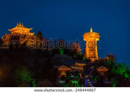 The largest Tibetan prayer wheel in the world, Shangri-La, Yunan province - stock photo