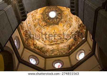 The Last Judgment fresco painted on the dome of the Florence cathedral, Italy - stock photo