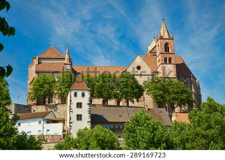 The late Romanesque Stephans Cathedral in Breisach on the Upper Rhine in Baden-W�¼rttemberg - stock photo