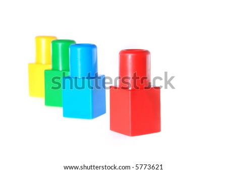 The leader. A metaphor on a subject of the leader in group, it is expressed by children's toys - stock photo