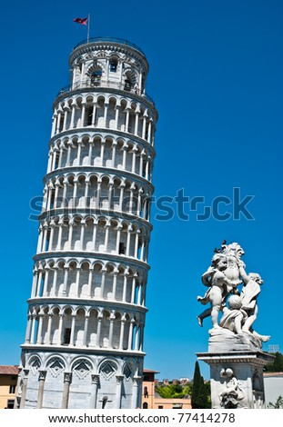 The Leaning Tower in Pisa, Italy, Romanesque architecture in Tuscany - stock photo