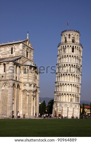 The leaning tower of Pisa in the Piazza del Duomo, in Pisa, Tuscany, Italy. - stock photo
