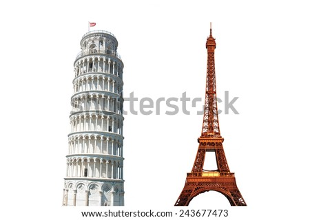 The Leaning Tower of Pisa, Italy and The Eiffel Tower, Paris, Isolated on White - stock photo