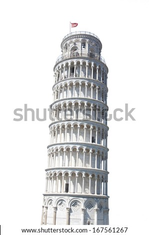 The Leaning Tower of Pisa, Italy Isolated on White - stock photo