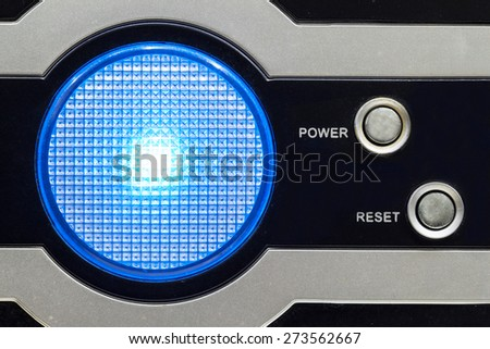 The led light on the computer case - stock photo