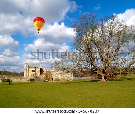 The leeds castle under sunny sky in England - stock photo